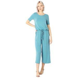 Blue capri jumpsuit